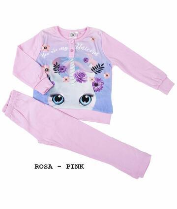 Pigiama da bambina in CALDO cotone Unicorno UNI-0110 - CIAM Centro Ingrosso Abbigliamento