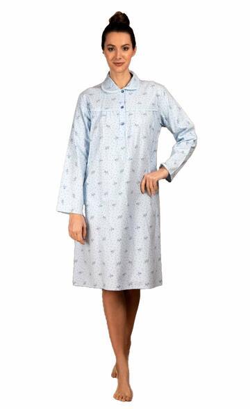 Camicia da notte donna in flanella di cotone Silvia 1158 - CIAM Centro Ingrosso Abbigliamento