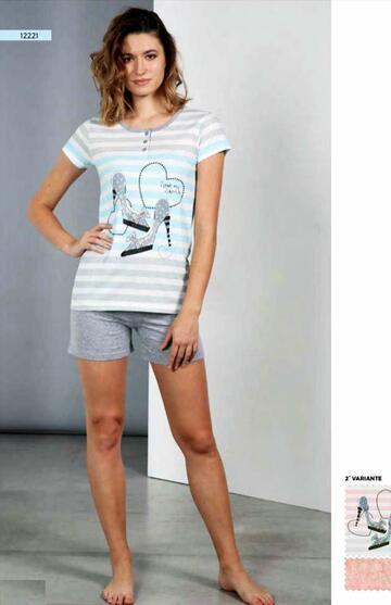 Pigiama donna a manica corta in cotone Dolcissime 12221 - CIAM Centro Ingrosso Abbigliamento