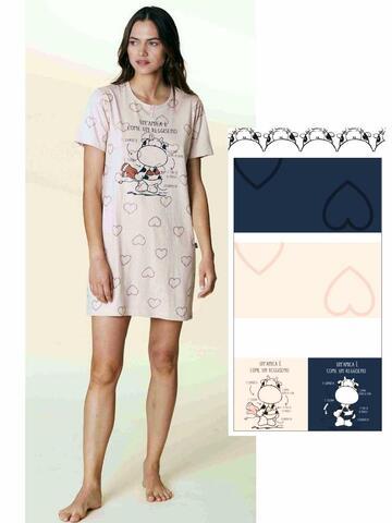 Camicia da notte donna in cotone manica corta Crazy Farm 15604 - CIAM Centro Ingrosso Abbigliamento