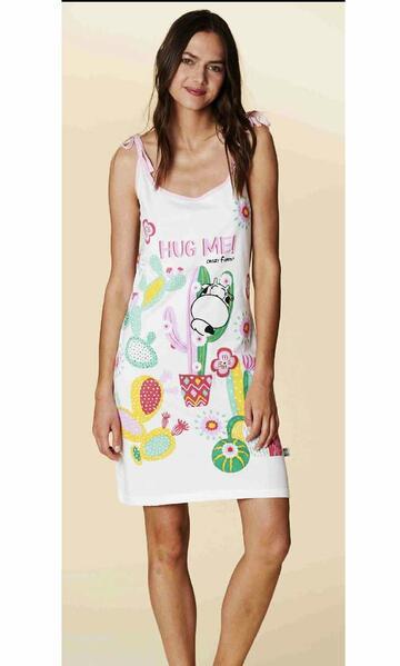 Camicia da notte donna in cotone a spallina Crazy Farm 15625 - CIAM Centro Ingrosso Abbigliamento