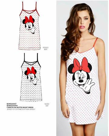 Camicia da notte donna spalla stretta in cotone Disney B2WD20657 - CIAM Centro Ingrosso Abbigliamento