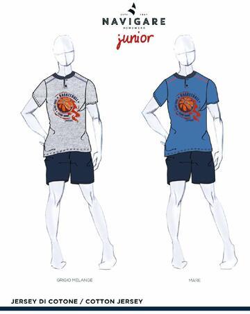 Pigiama ragazzo corto in cotone Navigare Junior 215616 - CIAM Centro Ingrosso Abbigliamento