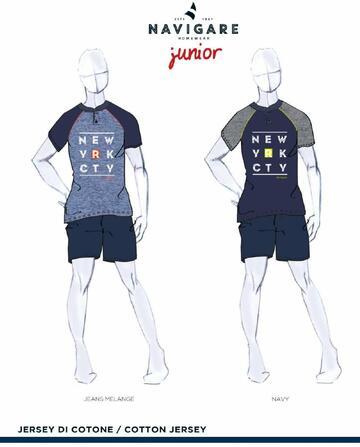 Pigiama ragazzo corto in cotone Navigare Junior 215618 - CIAM Centro Ingrosso Abbigliamento