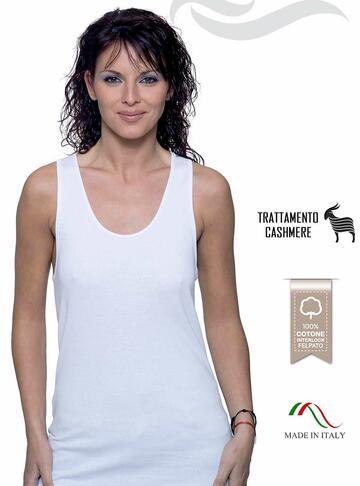 Canottiera donna a spalla larga in cotone interlock felpato Leable 258 - 325 - CIAM Centro Ingrosso Abbigliamento