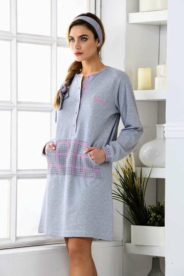 Camicia da notte donna in cotone caldo Kissimo Biancaluna 3008 - CIAM Centro Ingrosso Abbigliamento