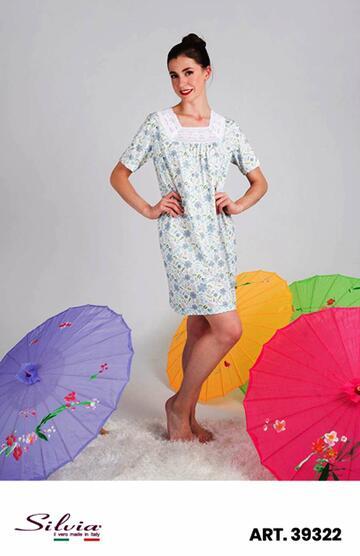 Camicia da notte donna manica corta in cotone Silvia 39322 - CIAM Centro Ingrosso Abbigliamento