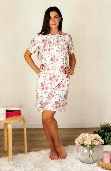 Camicia da notte donna a manica corta in cotone Silvia 41312 - CIAM Centro Ingrosso Abbigliamento