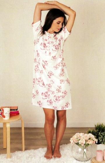 Camicia da notte donna a manica corta in cotone Silvia 41328 - CIAM Centro Ingrosso Abbigliamento