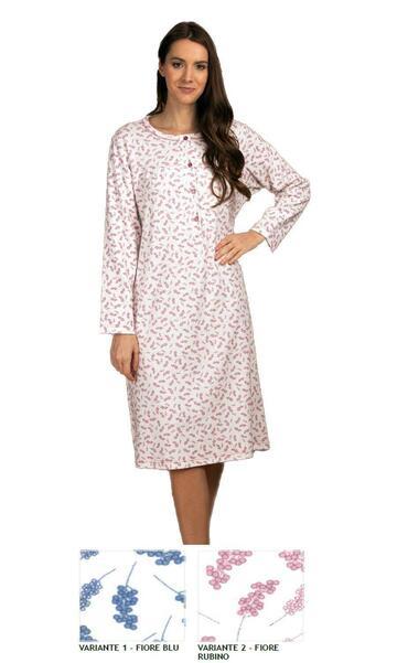 Camicia da notte donna in cotone caldo Silvia 41512 - CIAM Centro Ingrosso Abbigliamento