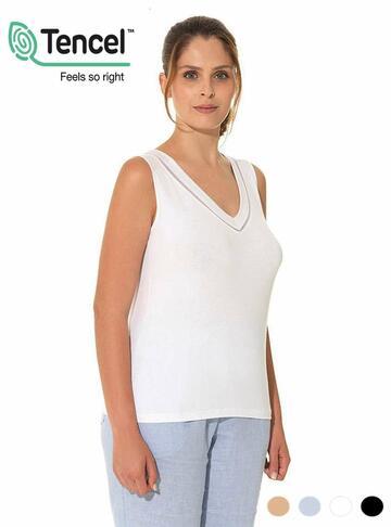 Canottiera donna a spalla larga scavo a V Emmebivi Vitality 60222 - CIAM Centro Ingrosso Abbigliamento