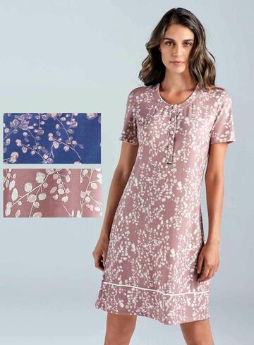Camicia da notte donna in cotone modal Lormar Garden 630407 - CIAM Centro Ingrosso Abbigliamento