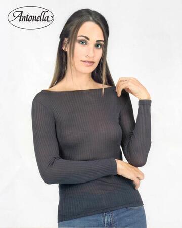 Maglia donna con scollo a barchetta in micro lana Antonella 64156 - CIAM Centro Ingrosso Abbigliamento