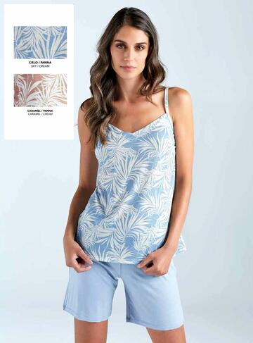 Pigiama donna a spallina in cotone modal Lormar Palm Tree 650392 - CIAM Centro Ingrosso Abbigliamento