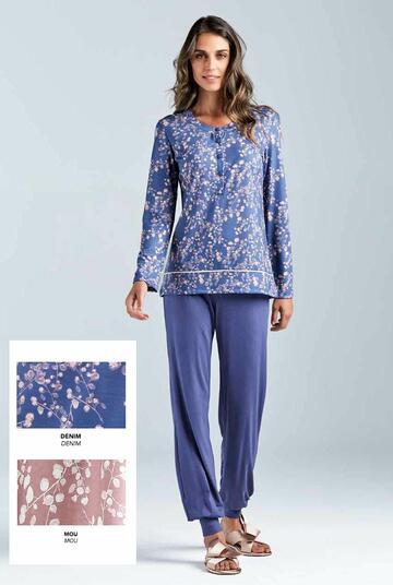 Pigiama donna in cotone modal Lormar Garden 650404 - CIAM Centro Ingrosso Abbigliamento