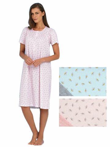 Camicia da notte donna in cotone a manica corta Linclalor 74049 - CIAM Centro Ingrosso Abbigliamento