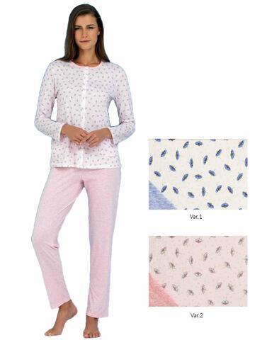 Pigiama donna con giacca aperta in cotone Linclalor 74075 - CIAM Centro Ingrosso Abbigliamento