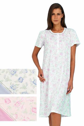 Camicia da notte donna in cotone a manica corta Linclalor 74107 - CIAM Centro Ingrosso Abbigliamento