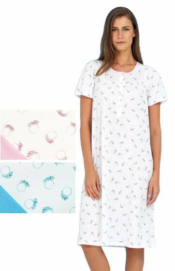 Camicia da notte donna in cotone a manica corta Linclalor 74141 - CIAM Centro Ingrosso Abbigliamento