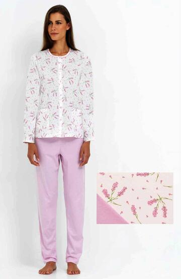 Pigiama donna con giacca aperta in cotone Linclalor 74165 - CIAM Centro Ingrosso Abbigliamento