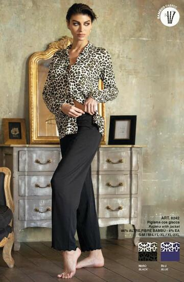 Pigiama donna aperto in fibra di bamboo Magic Dream 8242 - CIAM Centro Ingrosso Abbigliamento