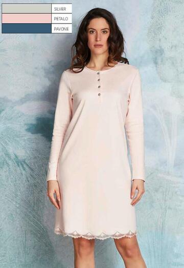 Camicia da notte donna in caldo cotone-modal Andra Lingerie 8860 - CIAM Centro Ingrosso Abbigliamento
