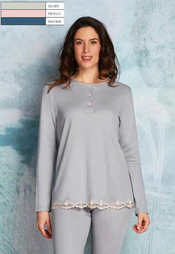 Pigiama donna in caldo cotone-modal Andra Lingerie 8862 - CIAM Centro Ingrosso Abbigliamento