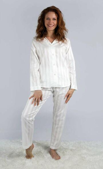 Pigiama donna aperto in tessuto battista effetto riga Silvia 9970 - CIAM Centro Ingrosso Abbigliamento
