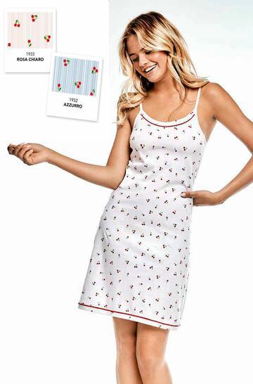 Camicia da notte donna in cotone a spallina Infiore Cherry CHE0435 - CIAM Centro Ingrosso Abbigliamento