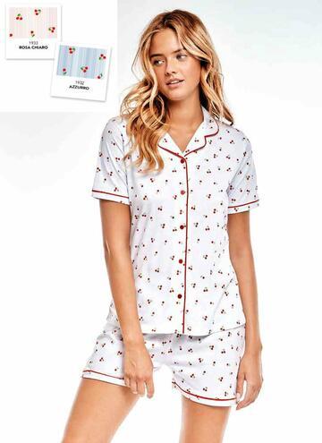 Pigiama donna in cotone a manica corta Infiore Cherry CHE0460 - CIAM Centro Ingrosso Abbigliamento