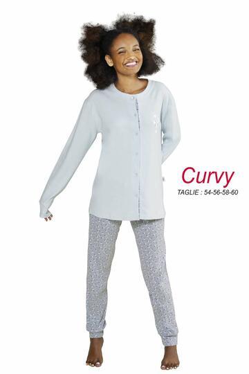 Pigiama donna CALIBRATO con giacca aperta in cotone caldo StellaDueGi D8428 - CIAM Centro Ingrosso Abbigliamento