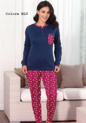 Pigiama donna in cotone caldo De Fonseca DPD202 - CIAM Centro Ingrosso Abbigliamento