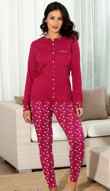 Pigiama donna aperto in cotone caldo De Fonseca DPD800 - CIAM Centro Ingrosso Abbigliamento
