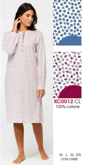 Camicia da notte donna in cotone Karelpiu' KC0012 - CIAM Centro Ingrosso Abbigliamento