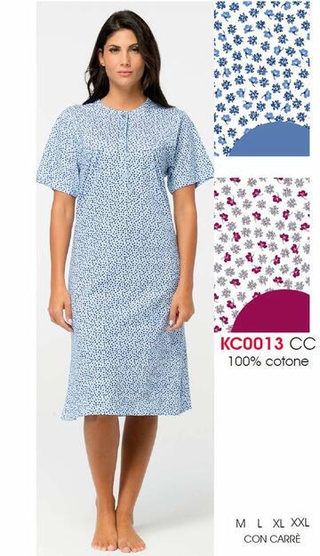Camicia da notte donna a manica corta in jersey di cotone Karelpiu' KE0013 - CIAM Centro Ingrosso Abbigliamento