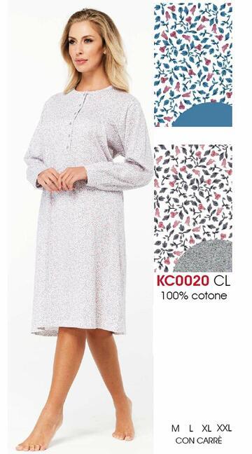 Camicia da notte donna in cotone Karelpiu' KC0020 - CIAM Centro Ingrosso Abbigliamento