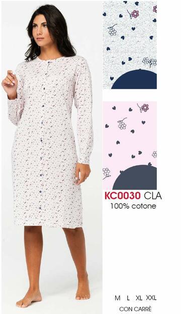 Camicia da notte donna CLINICA in cotone Karelpiu' KC0030 - CIAM Centro Ingrosso Abbigliamento