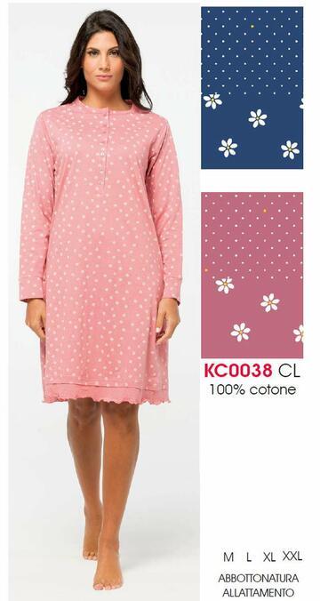 Camicia da notte donna in cotone Karelpiu' KC0038 - CIAM Centro Ingrosso Abbigliamento