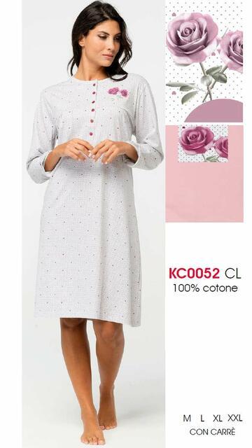 Camicia da notte donna in cotone Karelpiu' KC0052 - CIAM Centro Ingrosso Abbigliamento