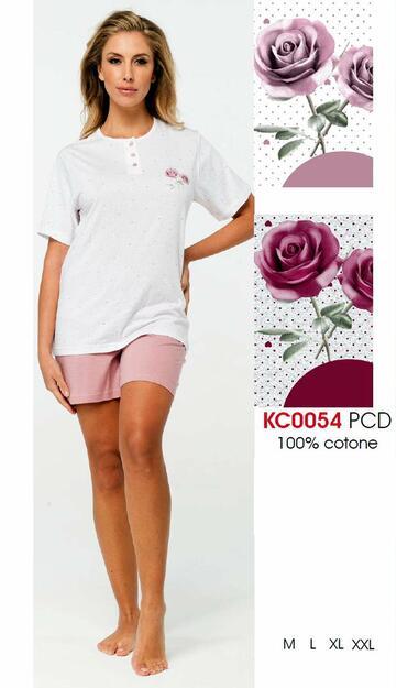 Pigiama donna a manica corta in cotone Karelpiu' KC0054 - CIAM Centro Ingrosso Abbigliamento