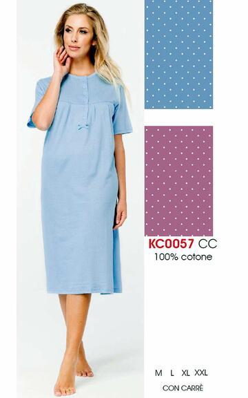 Camicia da notte donna a manica corta Karelpiu' KC0057 - CIAM Centro Ingrosso Abbigliamento