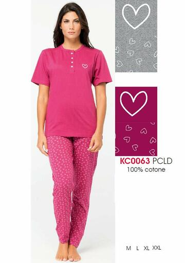 Pigiama donna in cotone e manica corta Karelpiu' KC0063 - CIAM Centro Ingrosso Abbigliamento