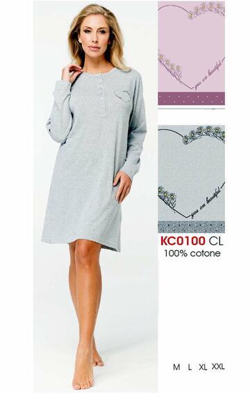 Camicia da notte donna in cotone Karelpiu' KC0100 - CIAM Centro Ingrosso Abbigliamento
