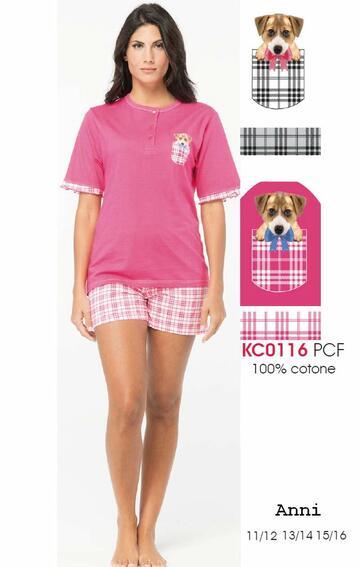 Pigiama da ragazza a manica corta in cotone Karelpiu' KC0116 - CIAM Centro Ingrosso Abbigliamento