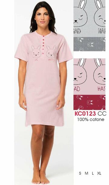 Camicia da notte donna a manica corta Karelpiu' KC0123 - CIAM Centro Ingrosso Abbigliamento