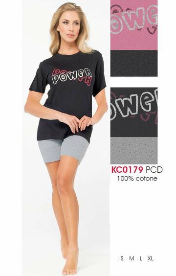 Pigiama donna a manica corta in cotone Karelpiu' KC0179 - CIAM Centro Ingrosso Abbigliamento