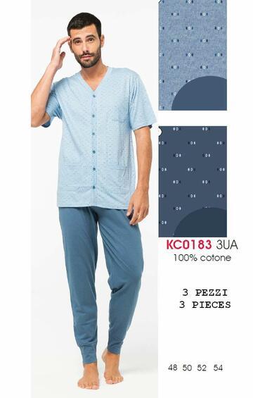 Pigiama uomo 3 PEZZI in cotone Karelpiu' KC0183 - CIAM Centro Ingrosso Abbigliamento