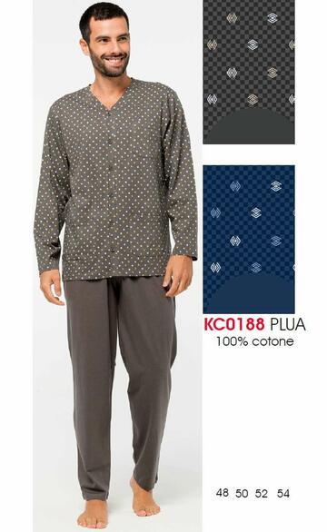 Pigiama uomo aperto in cotone Karelpiu' KC0188 - CIAM Centro Ingrosso Abbigliamento