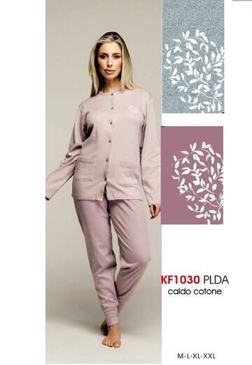 Pigiama donna aperto in cotone caldo Karelpiu' KF1030 - CIAM Centro Ingrosso Abbigliamento