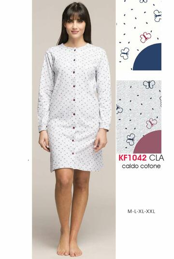 Camicia da notte donna CLINICA in cotone caldo Karelpiu' KF1042 - CIAM Centro Ingrosso Abbigliamento